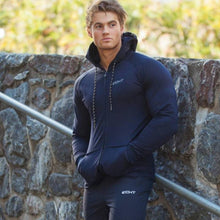 Load image into Gallery viewer, Men cotton sports hoodie for gym workouts and casual wear - Navy blue - esstey