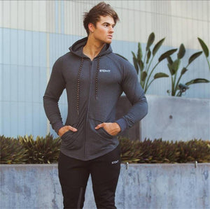 Men cotton sports hoodie for gym workouts & casual wear - Gray - esstey