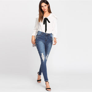 Pearl Beaded Raw Hem Ripped Jeans | New Arrival 2018 - esstey