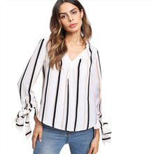 Load image into Gallery viewer, Women's Casual V Neck Striped Blouse with Vertical Bow Tied Cuff - esstey