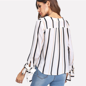 Women's Casual V Neck Striped Blouse with Vertical Bow Tied Cuff - esstey