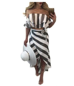 Women's Ruffle Strip Off Shoulder Casual Wear | Summer Casual Beach Wear - esstey