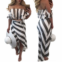 Load image into Gallery viewer, Women's Ruffle Strip Off Shoulder Casual Wear | Summer Casual Beach Wear - esstey