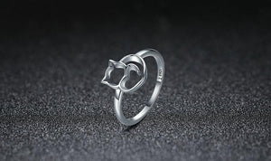 Women Silver Cat Ring Jewellery | Heart-Shaped Tail and Pointy Ears make you say Meow..!! - esstey