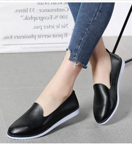 Split Leather Flat Shoes For Women - College & Casual Fashion Ladies Loafers - esstey