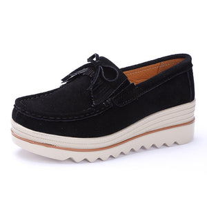 Flats Thick Soled Women's Sneakers With Leather Suede - Ladies Casual Fringe Slip-On - esstey