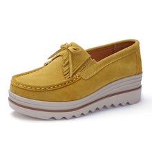 Load image into Gallery viewer, Flats Thick Soled Women's Sneakers With Leather Suede - Ladies Casual Fringe Slip-On - esstey