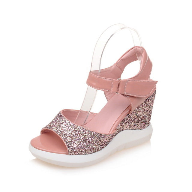 Women's Wedges Sandals with Shiny glitter - Best with Casual & Party wears - esstey