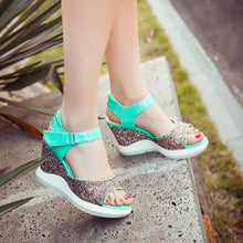 Load image into Gallery viewer, Women's Wedges Sandals with Shiny glitter - Best with Casual & Party wears - esstey