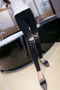 High Stretch Rivet Beading Jeans | New Arrivals 2018 - esstey