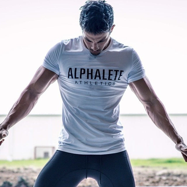 Men Gym Workout T-Shirt - Alpha Athletics Printed Cotton Shirt