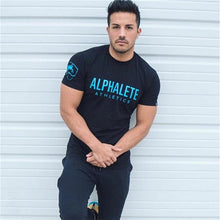 Load image into Gallery viewer, Men Gym Workout T-Shirt - Alpha Athletics Printed Cotton Shirt - esstey