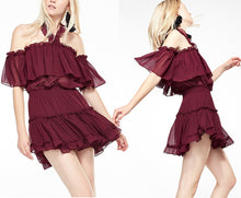 Load image into Gallery viewer, Women's Casual Ruffle backless Mini Dress - Nudge Pink, Purple, Purplish Red - esstey