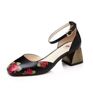Genuine Leather Flower Print Sandals | Summer Collection 2018 - esstey