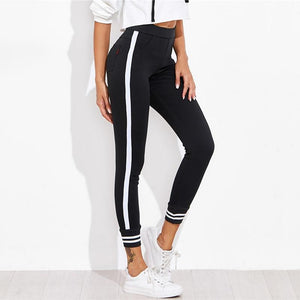 Women Contrast Striped Workout Leggings - esstey