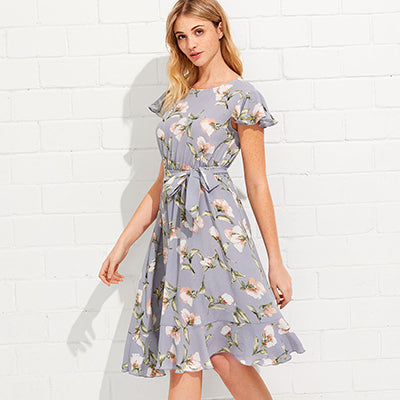 Summer Fit and Flare Short Dress - Women Casual Floral Dress - esstey