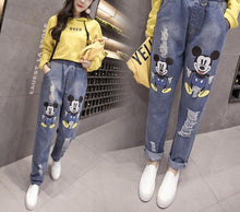Load image into Gallery viewer, Women's Mickey Mouse Hole Jeans Trousers Plus Size 5XL - esstey