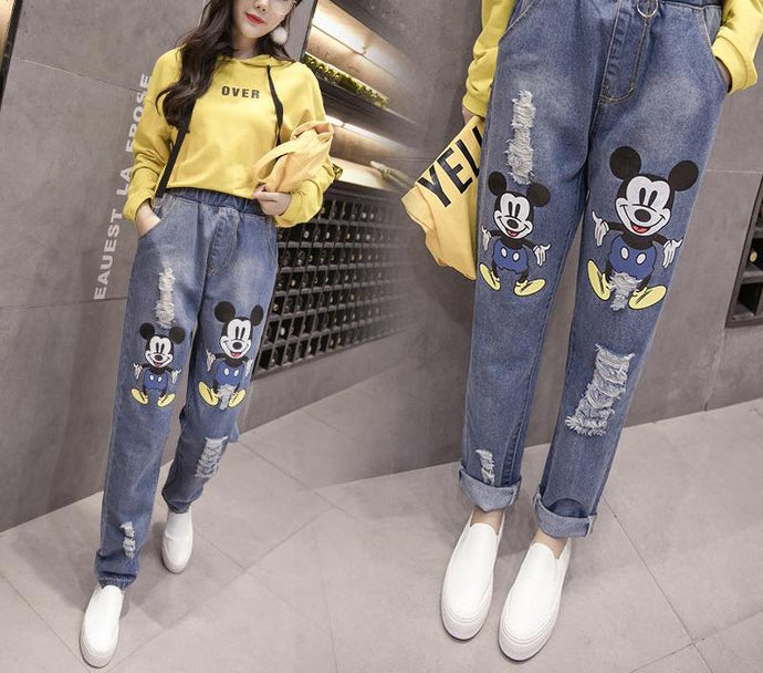 Women's Mickey Mouse Hole Jeans Trousers Plus Size 5XL - esstey