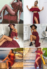 Load image into Gallery viewer, Women Red Sexy Off-Shoulder Ruffle Beach Dress - esstey