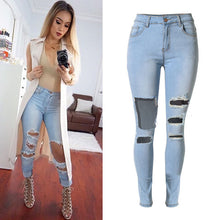 Load image into Gallery viewer, Women's knee big hole & high waist pencil jeans | Female skinny pure cotton denim pants - esstey