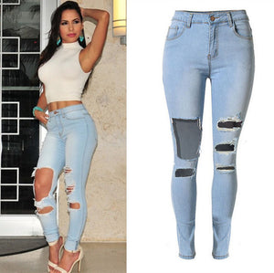 Women's knee big hole & high waist pencil jeans | Female skinny pure cotton denim pants - esstey