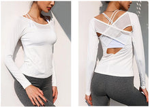 Load image into Gallery viewer, Women Open Back Top Shirt with Mesh Cross Back - esstey