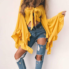 Load image into Gallery viewer, Women's Cardigan Outfit Summer StreetWear- Yellow, Grey, Pink, Black Short Chiffon Petal sleeves Shirts - esstey