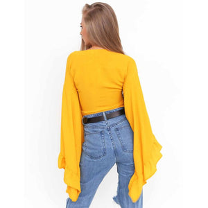 Women's Cardigan Outfit Summer StreetWear- Yellow, Grey, Pink, Black Short Chiffon Petal sleeves Shirts - esstey