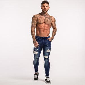 Skinny Jeans For Men - Distressed Stretch Slim Fit Jeans - esstey