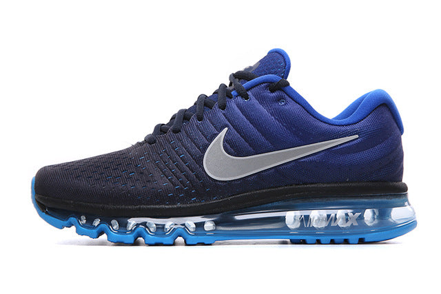 Men Nike Air Max Breathable Running Shoes - Multi Tone Black & Blue - esstey