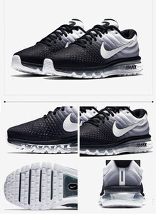 Men Nike Air Max Breathable Running Shoes - Multi Color White & Black - esstey