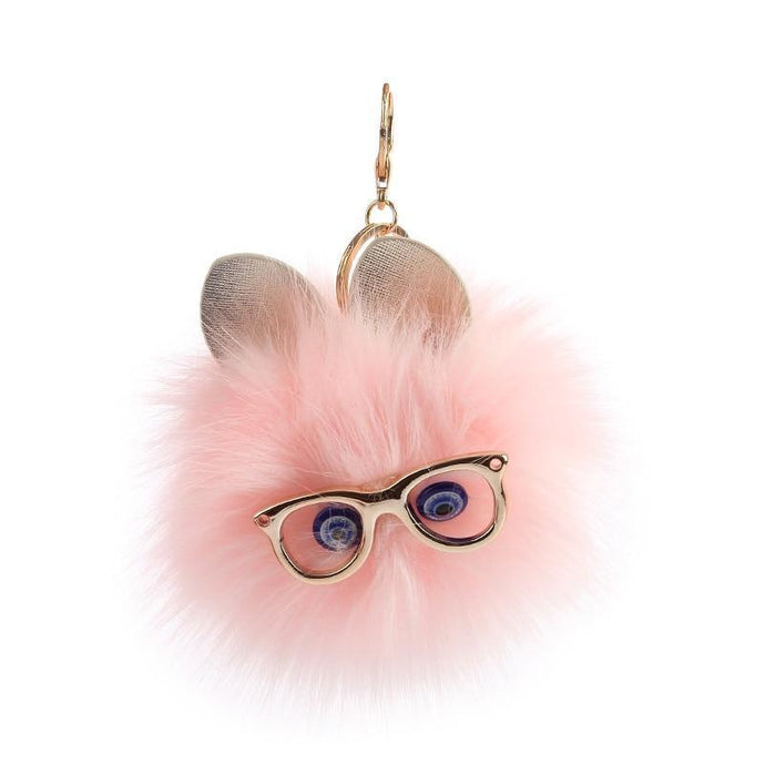 Cute Cat Wearing Glasses Fluffy Faux Key Chain - esstey