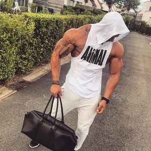 Drop Arm Sleeveless Animal Hoodie for your intense workout - Black & White - esstey