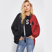 Load image into Gallery viewer, Women  Two Tone Patch Bomber Jackets- Street wear Look - esstey