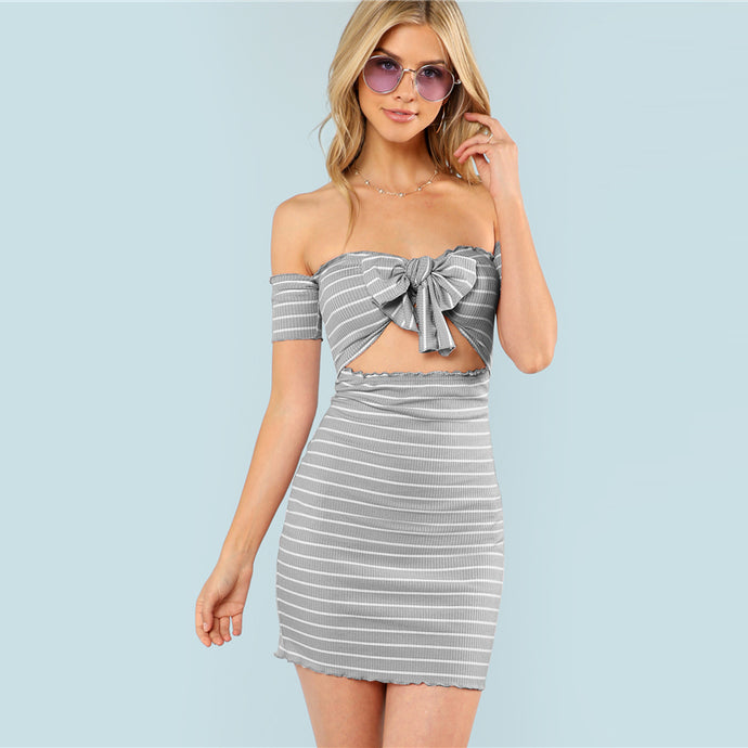 Slim Fit Grey High Waist Ribbed short Dress  - Summer Off the Shoulder body-con knot striped - esstey
