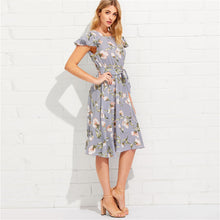 Load image into Gallery viewer, Summer Fit and Flare Short Dress - Women Casual Floral Dress - esstey