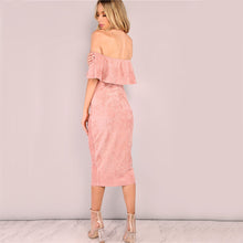 Load image into Gallery viewer, COLROVIE Women Party dresses Elegant Evening Sexy Club Dresses Backless Midi Pink Faux Suede Off The Shoulder Ruffle Dress - esstey