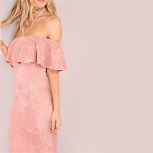 COLROVIE Women Party dresses Elegant Evening Sexy Club Dresses Backless Midi Pink Faux Suede Off The Shoulder Ruffle Dress - esstey