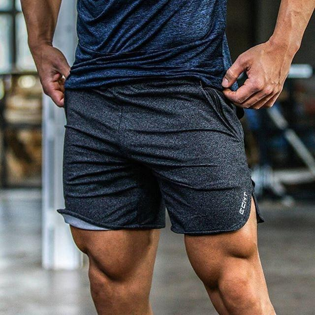 Men Gym Cotton Shorts - Dark Gray Color - esstey