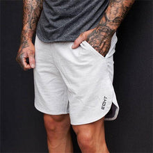 Load image into Gallery viewer, Men Gym Cotton Shorts - White Gray Color - esstey