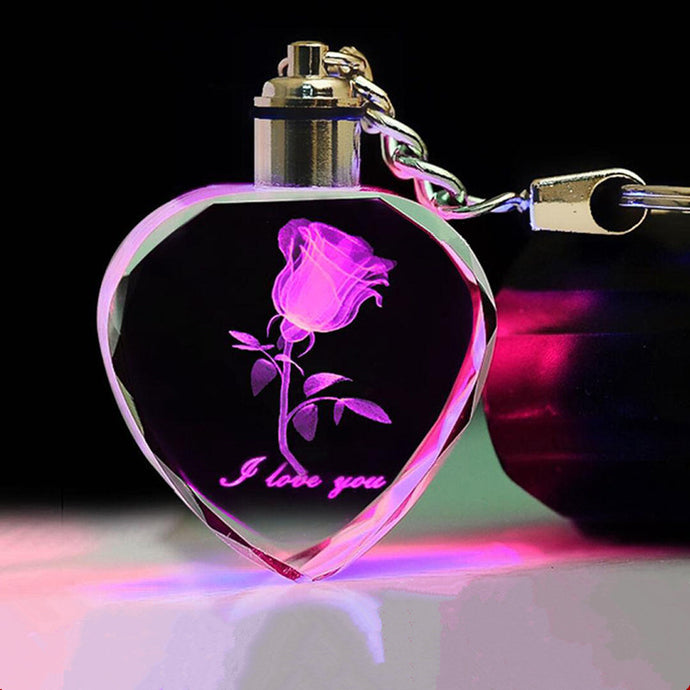 3D Laser Engraved Rose Flower Crystal Keychain - esstey