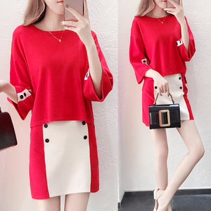 Burgundy solid Trim Ribbed Knit Body-con Dress Casual & Official Outfit- Black- White- Red - esstey