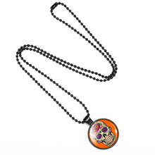 Load image into Gallery viewer, Mexican Sugar Skull Pendant Day Of The Dead Necklace - Orange - esstey