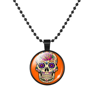 Mexican Sugar Skull Pendant Day Of The Dead Necklace - Orange - esstey