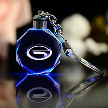 Load image into Gallery viewer, 3D Crystal Laser Engraved Car Logo Key Chain with LED Light - esstey