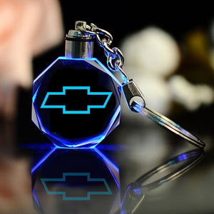 3D Crystal Laser Engraved Car Logo Key Chain with LED Light - esstey