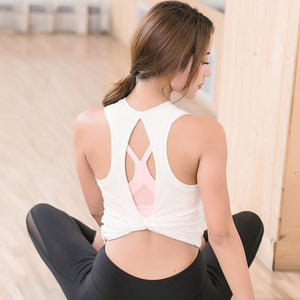 Women's Open back workout yoga top vest - esstey