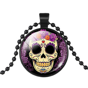 Mexican Sugar Skull Pendant Day Of The Dead Necklace - Purple - esstey