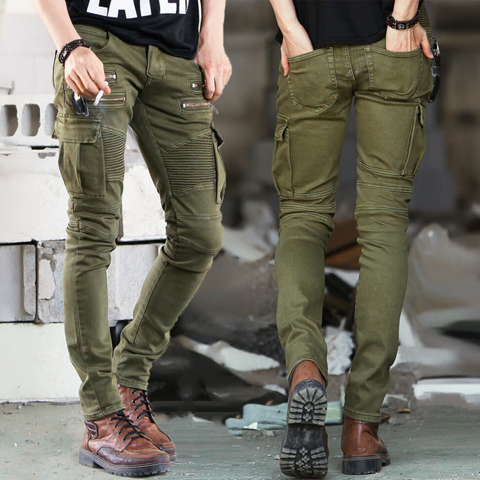 Mens soldier Green Black Denim Biker jeans - Skinny Distressed slim elastic jeans