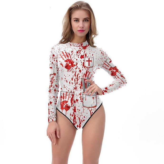 Cosplay Jumpsuits Horror Blood Organs Print Sexy  Halloween swimsuit - esstey